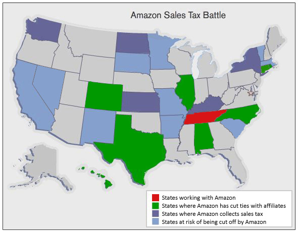 Amazon US Sales Tax Map