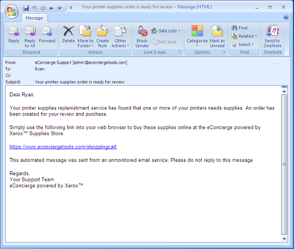 Xerox eConcierge Email Notification